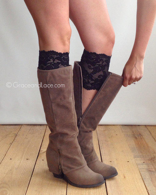 Stretch Lace Boot Cuffs BLACK lace boot from Grace and Lace