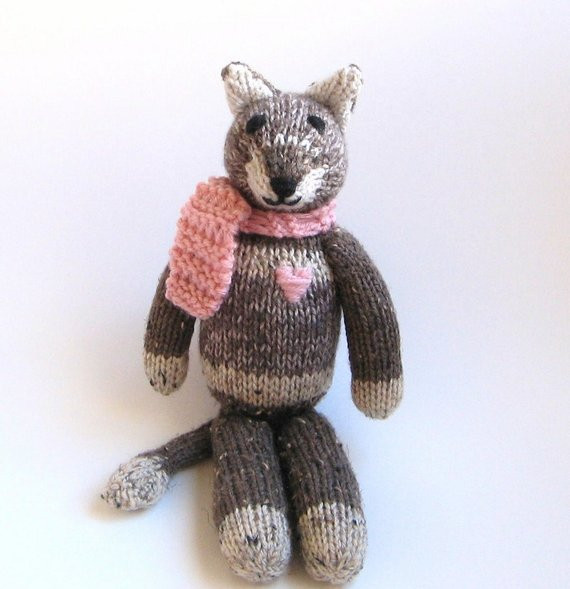 stuffed animal cat knit toy hand knit