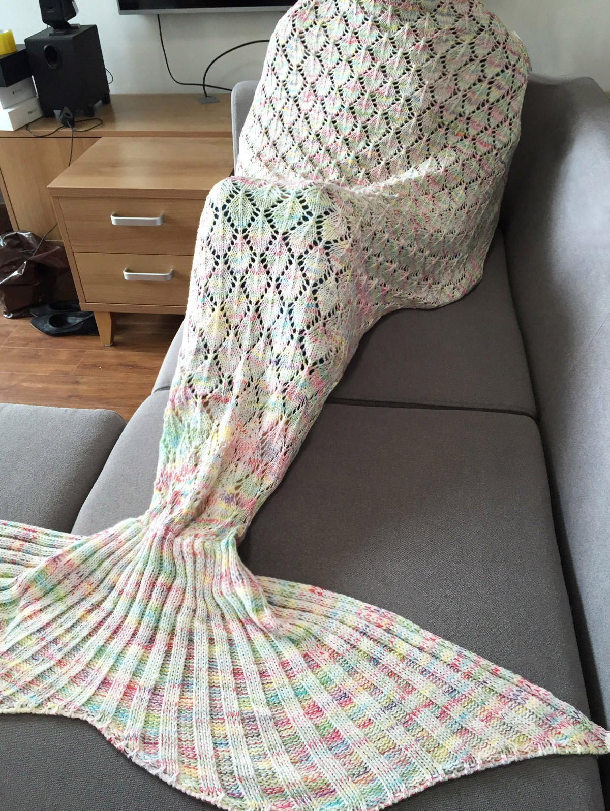 New Stylish Colorful Hollow Out Mermaid Tail Design Knitting Knitted Mermaid Blanket Of Great 41 Images Knitted Mermaid Blanket