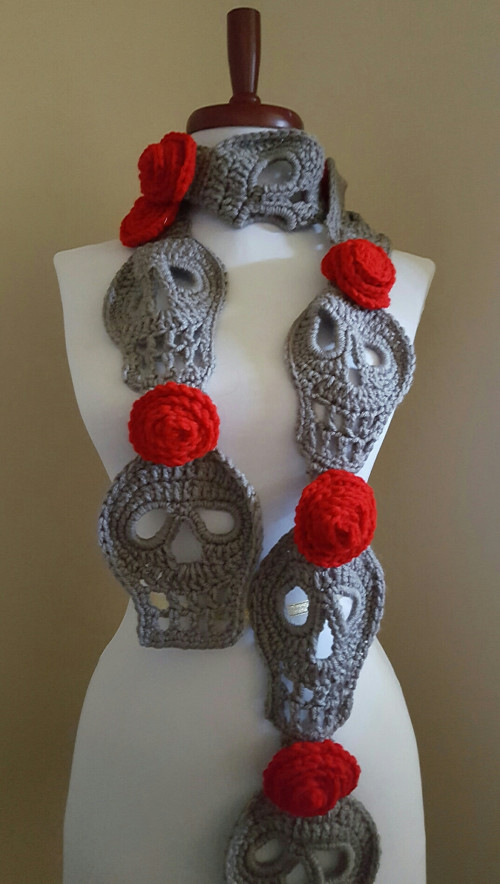 New Sugar Skull Scarf Day Of the Dead Crochet Art Scarf Neck Crochet Sugar Skull Of Incredible 47 Pictures Crochet Sugar Skull