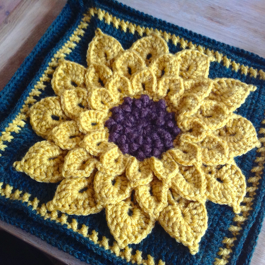 New Suvi S Crochet Sunflower Pillow and A Squared Circle Sunflower Crochet Blanket Of Contemporary 48 Ideas Sunflower Crochet Blanket