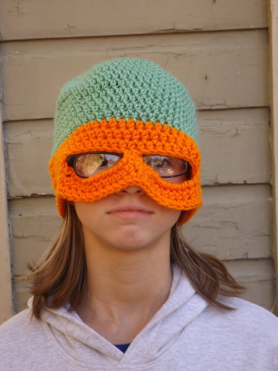 New Teen Adult Tmnt Crochet Hat with Mask by Lildragonflycreation Mikey Crochet Of New 49 Images Mikey Crochet