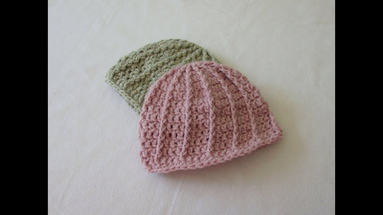 VERY EASY crochet cable baby hat beanie tutorial