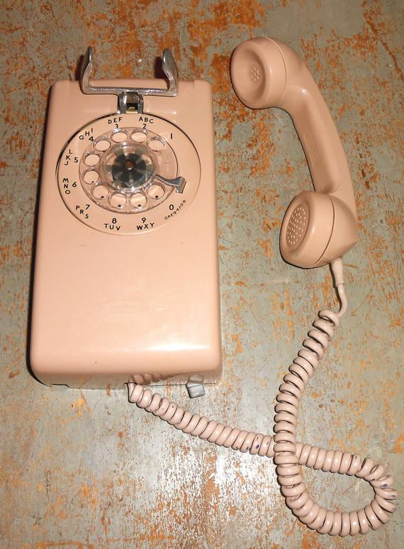 Vintage Telephone Rotary Wall Phone Old Telephone Wall