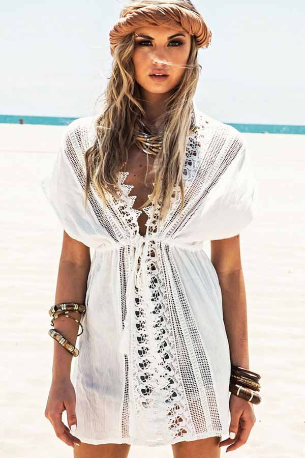 New White Crochet Trim Tied Waist Cover Up Cover Up White Crochet Cover Ups Of Charming 44 Pics White Crochet Cover Ups