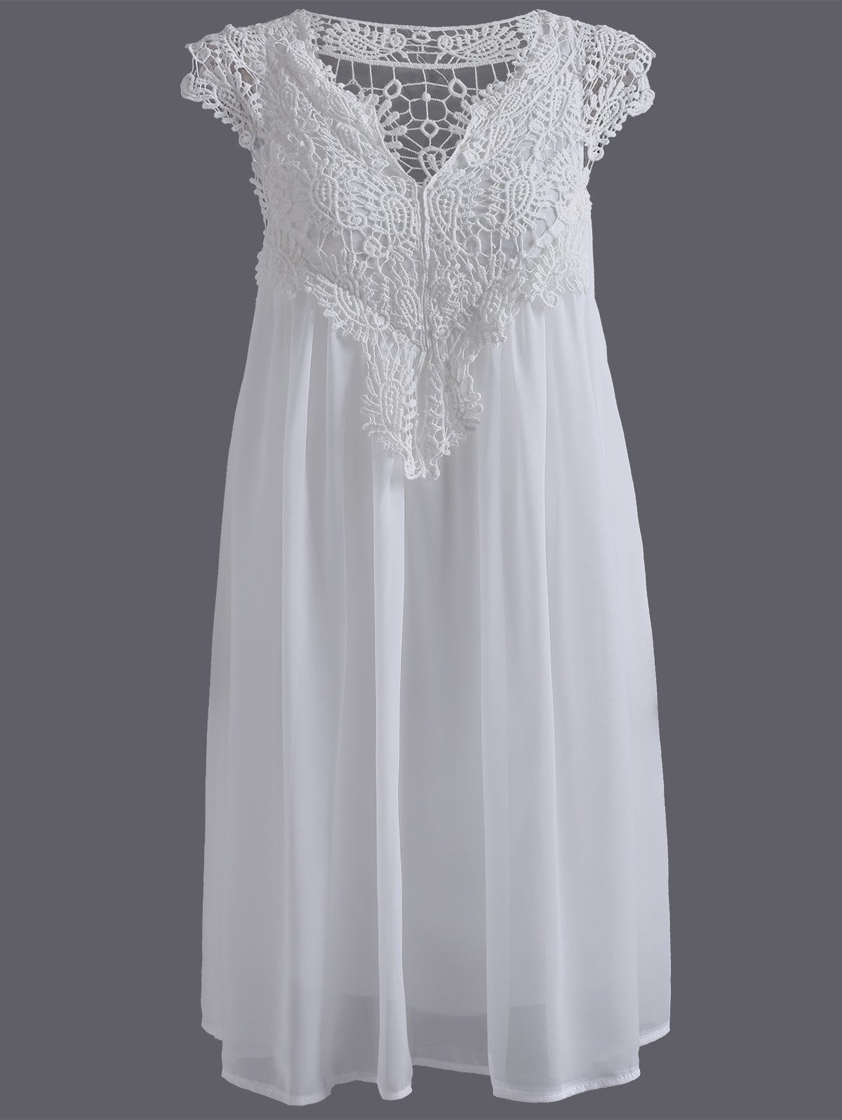 White Plus Size Crochet Panel Formal Shift Dress