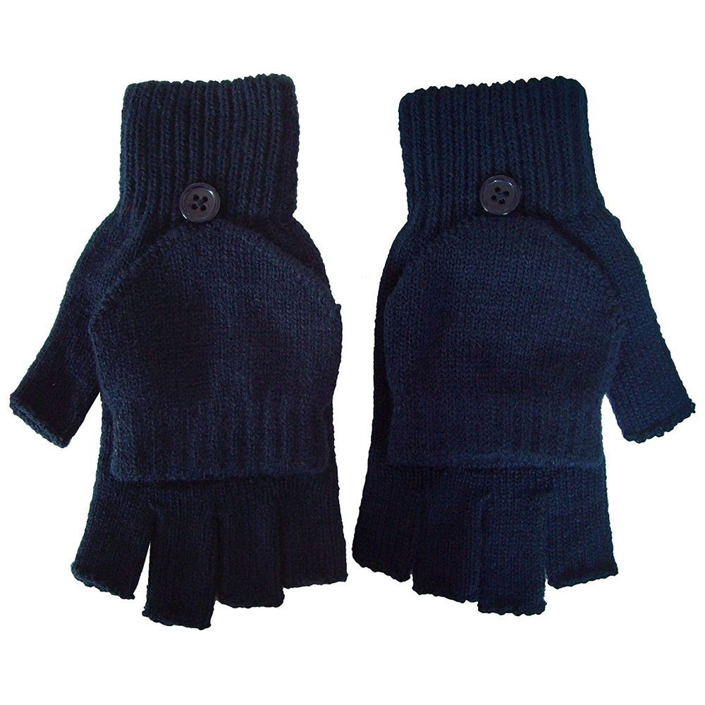 Winter Warm Fingerless Gloves With Mitten Flap Cover For