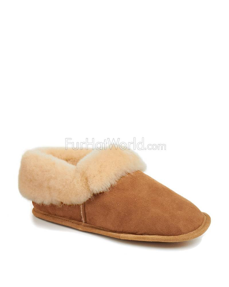 Women s Soft Leather Sole Sheepskin Slippers FurHatWorld