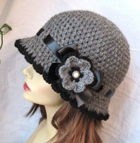 New Womens Hat Charcoal Gray Crochet Cloche Ribbon Flower Brim Crochet Hat with Brim Pattern Of Contemporary 46 Photos Crochet Hat with Brim Pattern