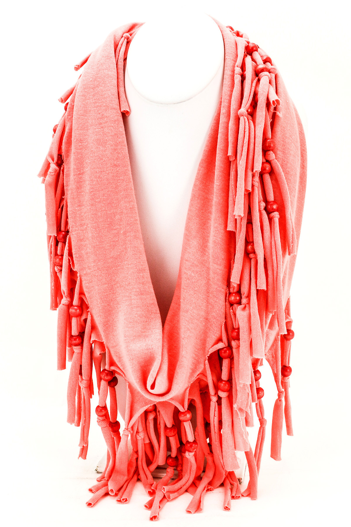 Woven Beaded Knotted Fringe Scarf Scarves