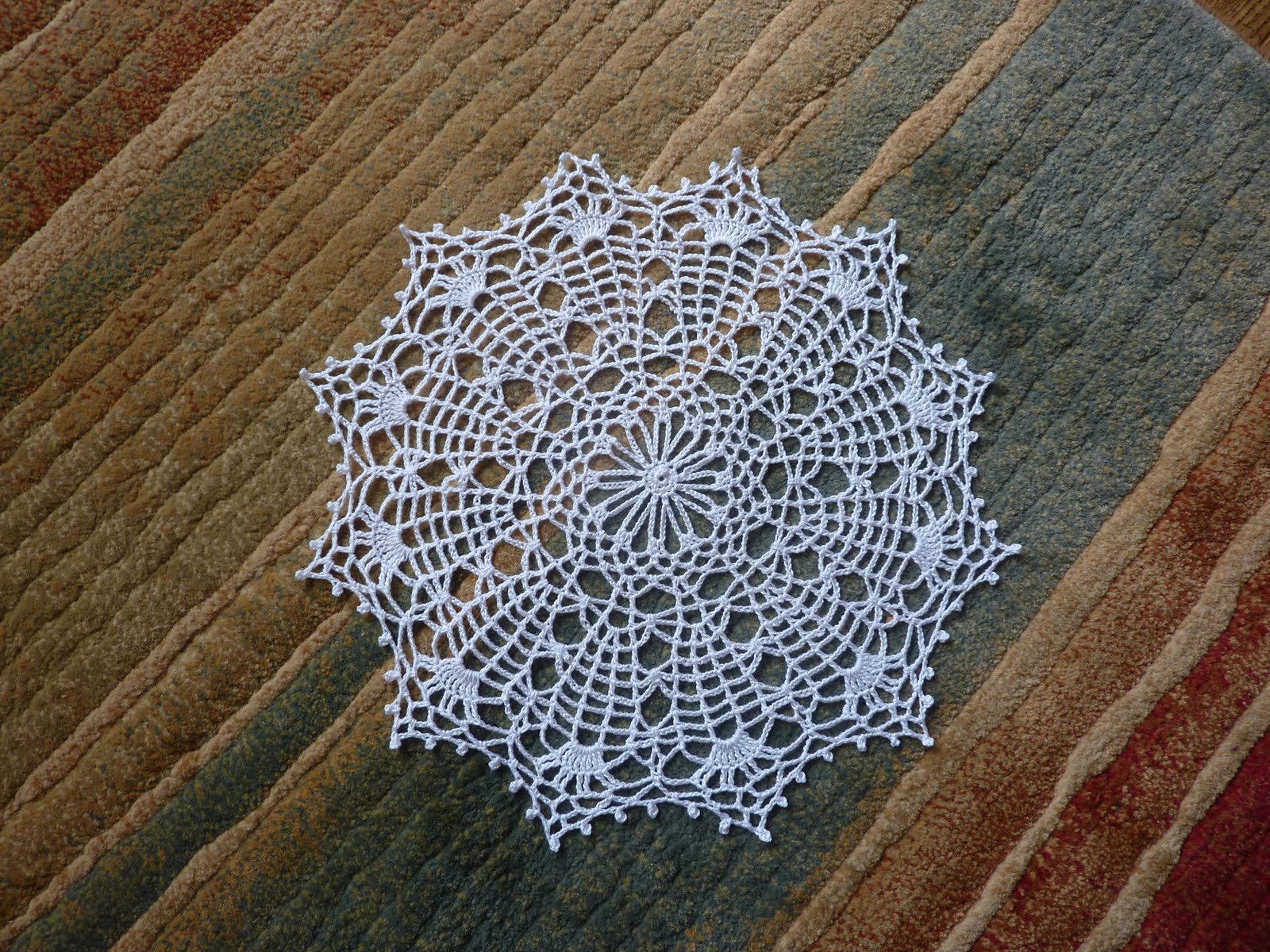Yellow Pink and Sparkly Spider Web Doily