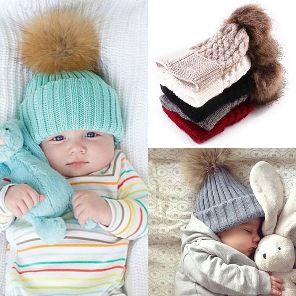 Newborn Baby Boy Girl Pom Hat Winter Warm Crochet Knit