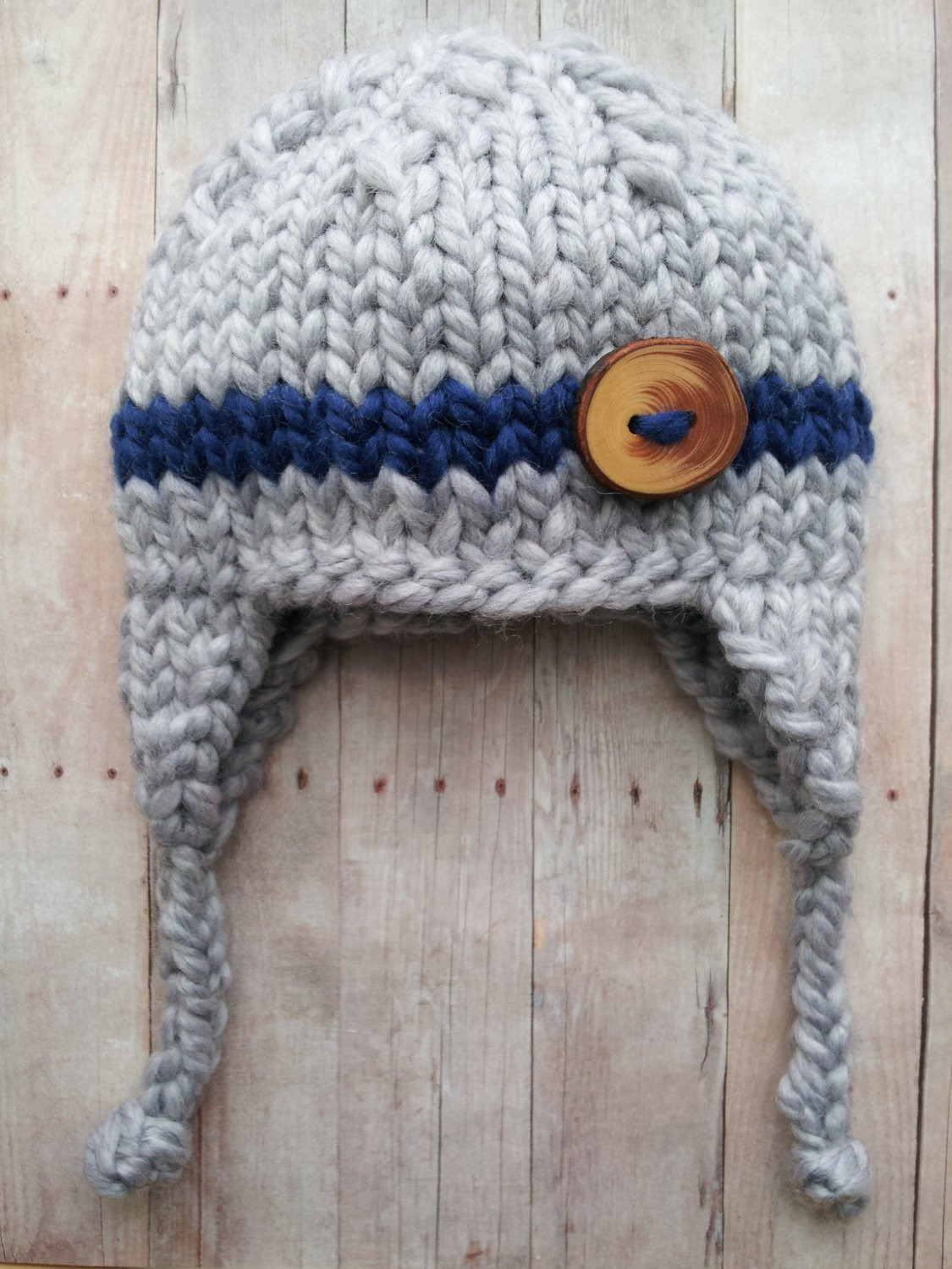 gray blue baby boy knitted hat baby hat with stripe newborn