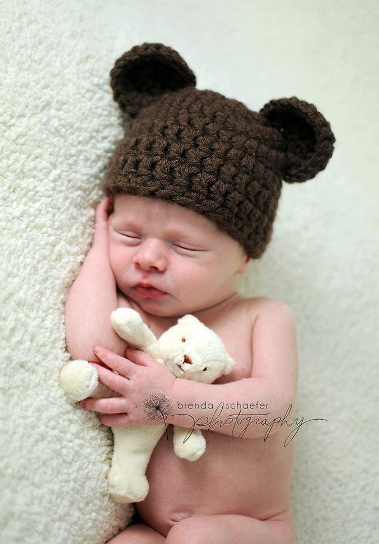 Newborn Baby Boy Hat Girl Bear Hat by Mad sdivinedesigns