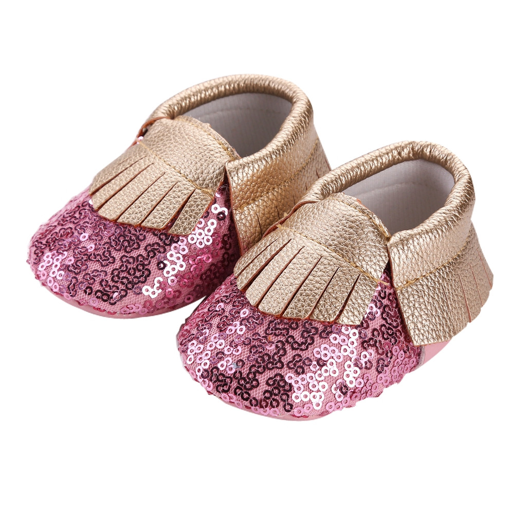 Newborn Baby Sandals Awesome Aliexpress Buy 2016 New Fringe Bling Pu Leather Of Newborn Baby Sandals Luxury Premie and Newborn Baby Ballet Slippers Metallic Pink