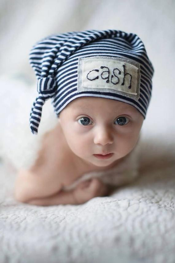 Newborn Hats Boy Luxury Navy & White Stripe Baby Name Hat Personalized Hat Newborn Of Great 44 Pics Newborn Hats Boy