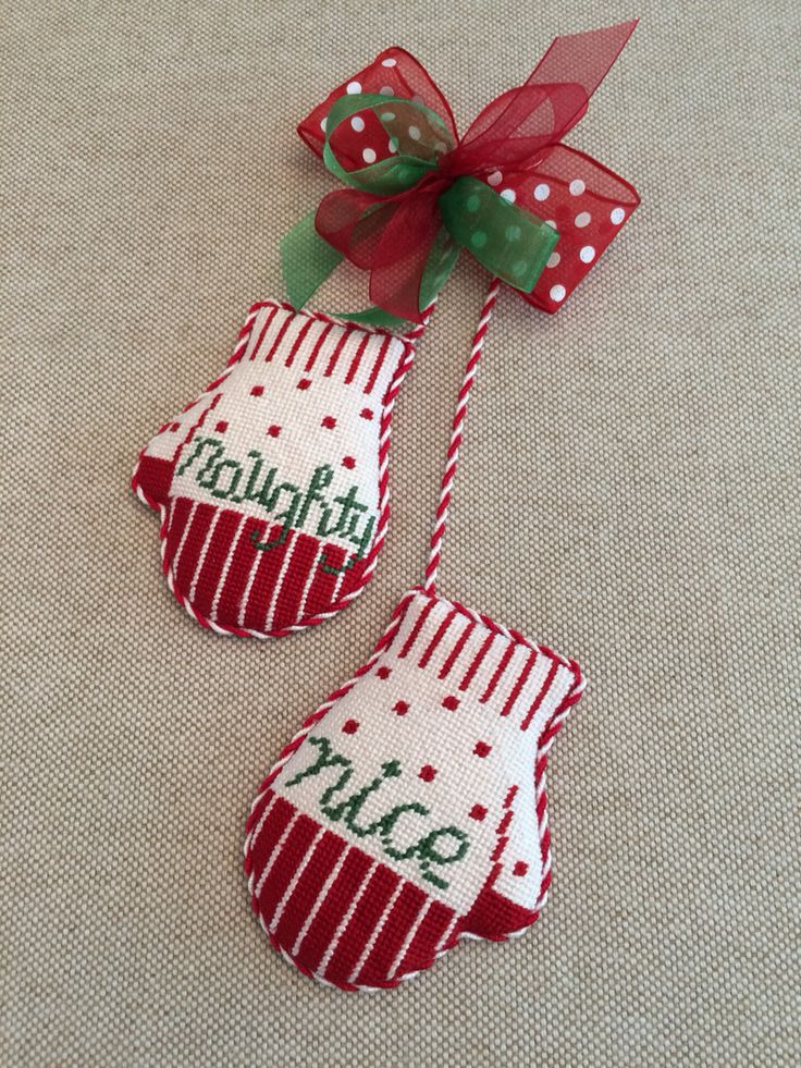 Nice Christmas ornaments Unique Naughty & Nice Mitten ornament Canvas by Kathy Schenkel Of Brilliant 50 Photos Nice Christmas ornaments
