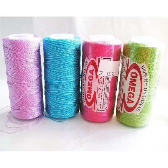 Omega Nylon Crochet Thread No 2 Lot of 4 Spools Hot Pink