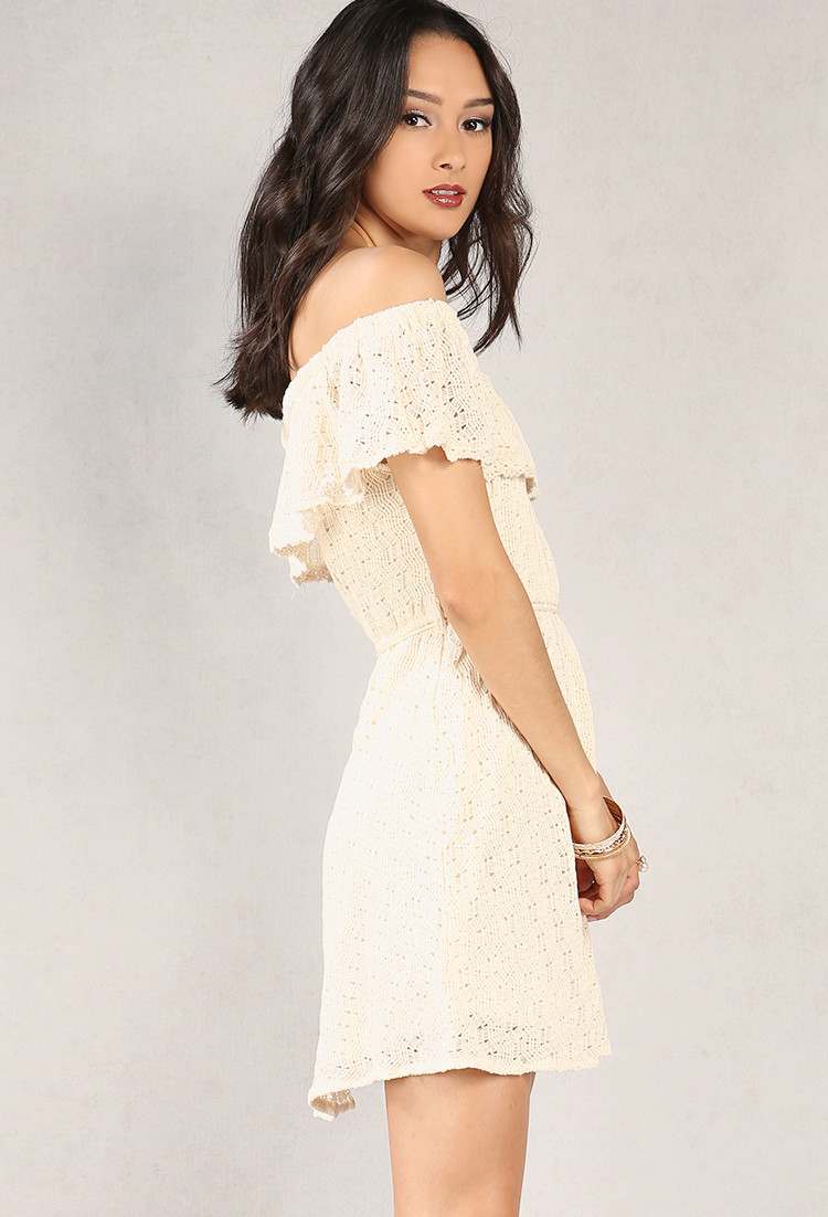 Off the Shoulder Crochet Dress Lovely Crocheted Knit F the Shoulder Flounce Dress Of Perfect 47 Photos Off the Shoulder Crochet Dress