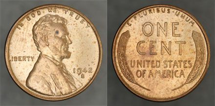 1 1942 S Lincoln 1c – Choice Brilliant Uncirculated Red
