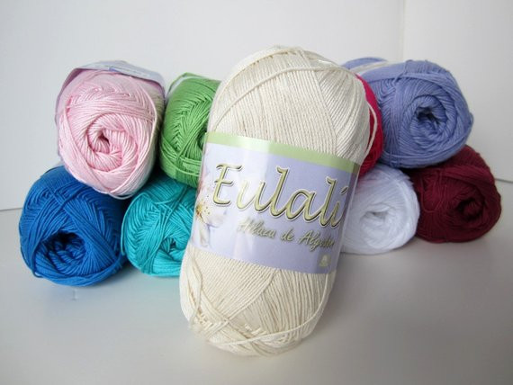 Omega Eulali Cream Cotton Yarn 1 Skein parable by