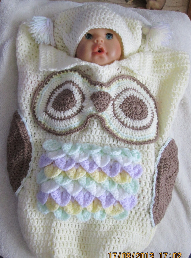 Owl Cocoon Crochet Pattern Awesome Hand Crochet Owl Cocoon and Hat for Baby Folksy Of Perfect 44 Models Owl Cocoon Crochet Pattern