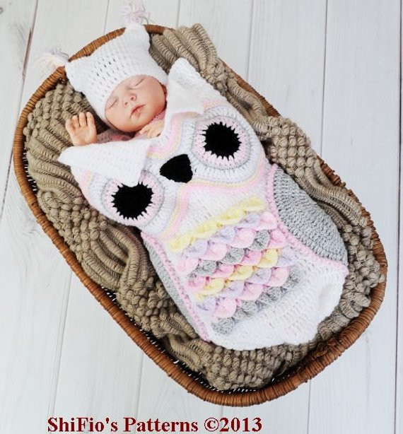 CROCHET PATTERN For Owl Baby Cocoon Papoose & Hat in 3 by