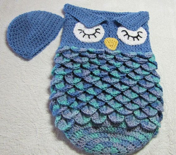Owl Cocoon Crochet Pattern Fresh Blue Owl Baby Cocoon and Beanie by Grammieshats On Etsy Of Perfect 44 Models Owl Cocoon Crochet Pattern