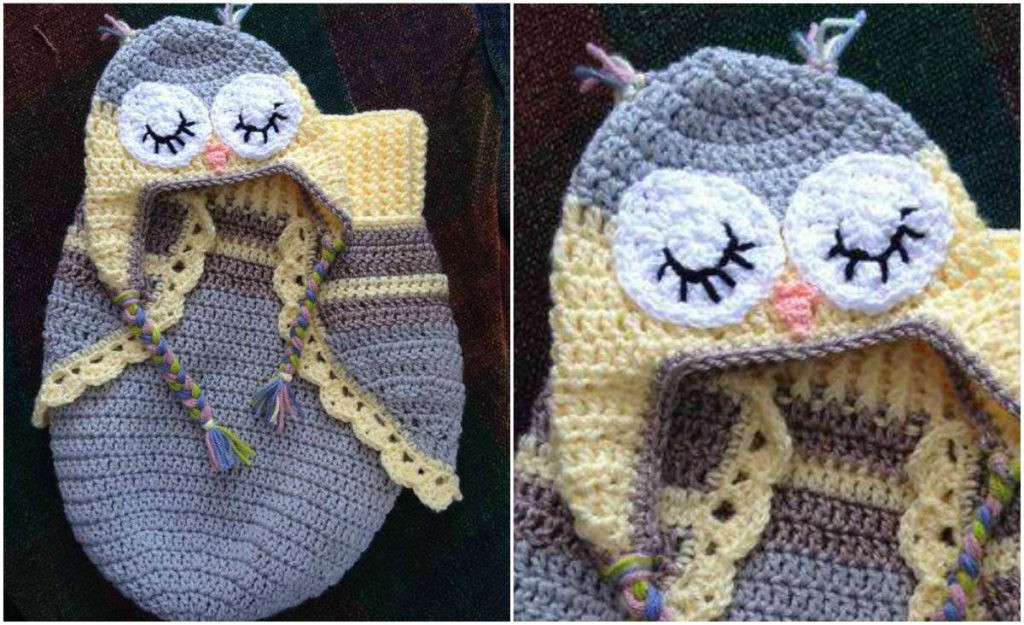 Owl Cocoon and Hat – 3 Button Baby – Crochet Free Pattern