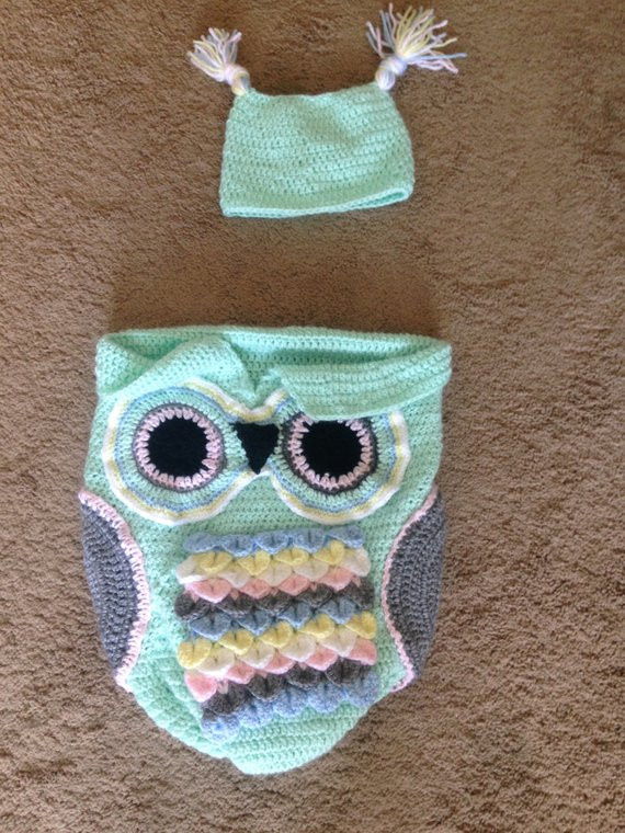 Owl Cocoon Crochet Pattern Luxury Crochet Infant Owl Cocoon and Hat 0 3 Months by Handsandhooks Of Perfect 44 Models Owl Cocoon Crochet Pattern