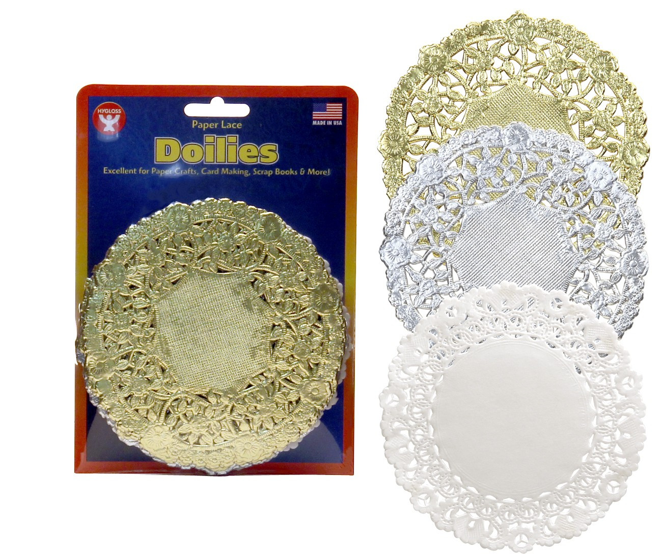 Round Paper Lace Doilies in White Gold & Silver Hygloss
