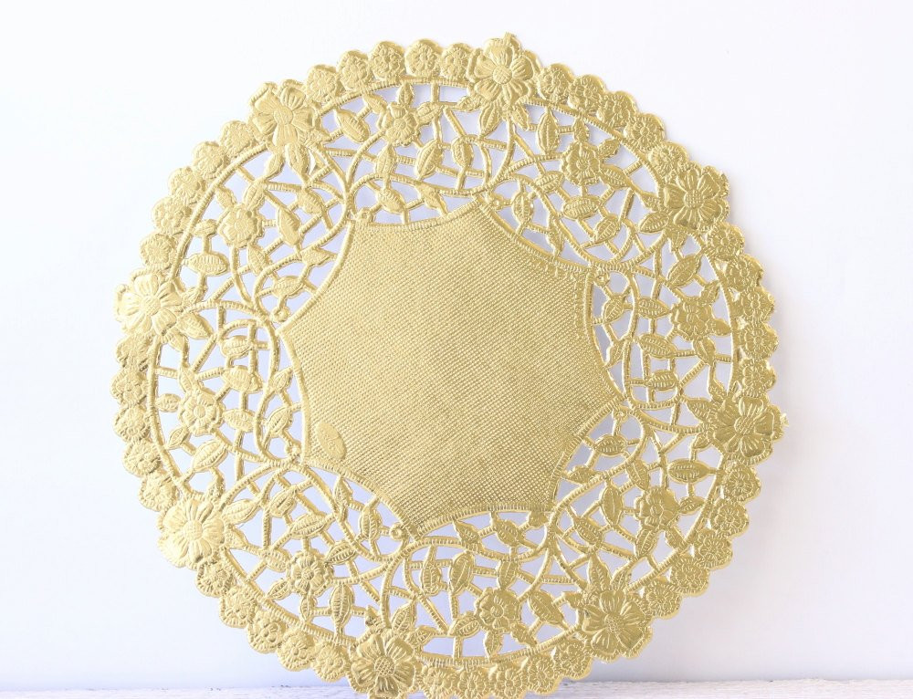 Metallic Gold Doily Lace Paper 6 Doilies by MailboxHappiness