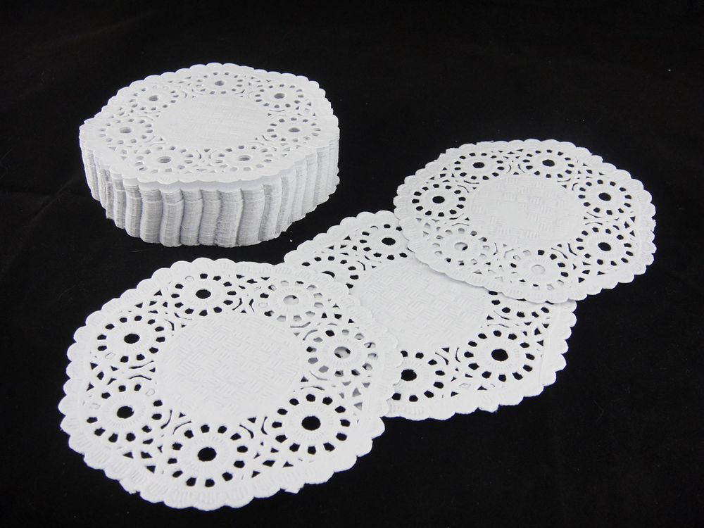 "250pcs 4"" INCH WHITE ROUND PAPER LACE DOILIES CRAFTS"