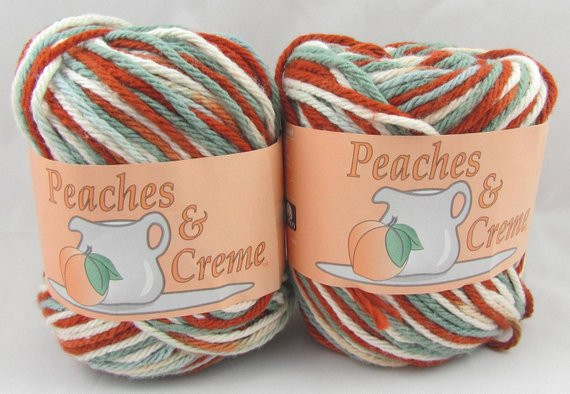 SWEET AND SOUR Peaches & Creme Yarn 2 Balls by carolscabin