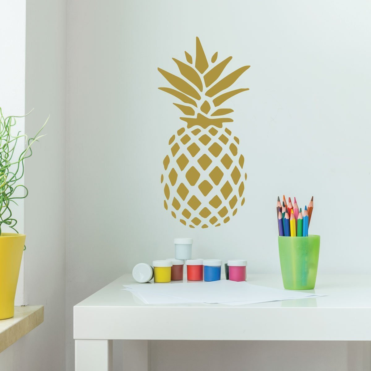 Pineapple Decor Vinyl Wall Decal With Hawaiian Pineapple