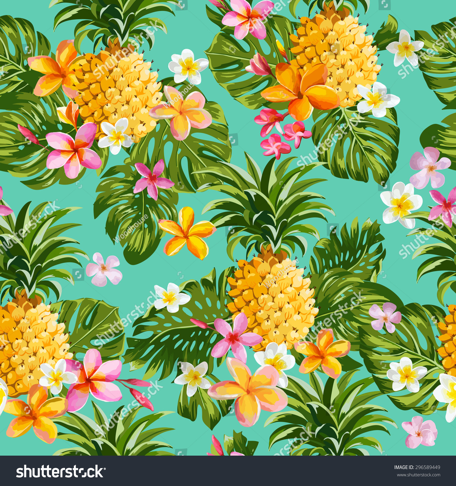 Pineapple Pattern Beautiful Pineapples Tropical Flowers Background Vintage Seamless Of Amazing 47 Images Pineapple Pattern