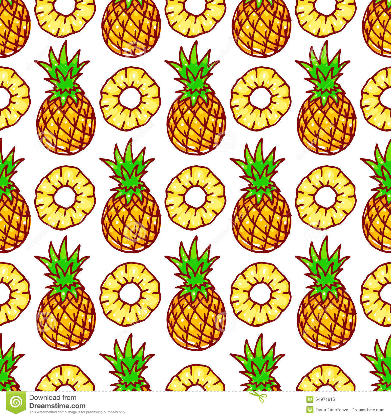 Seamless Pattern Cute Pineapple Stock Image