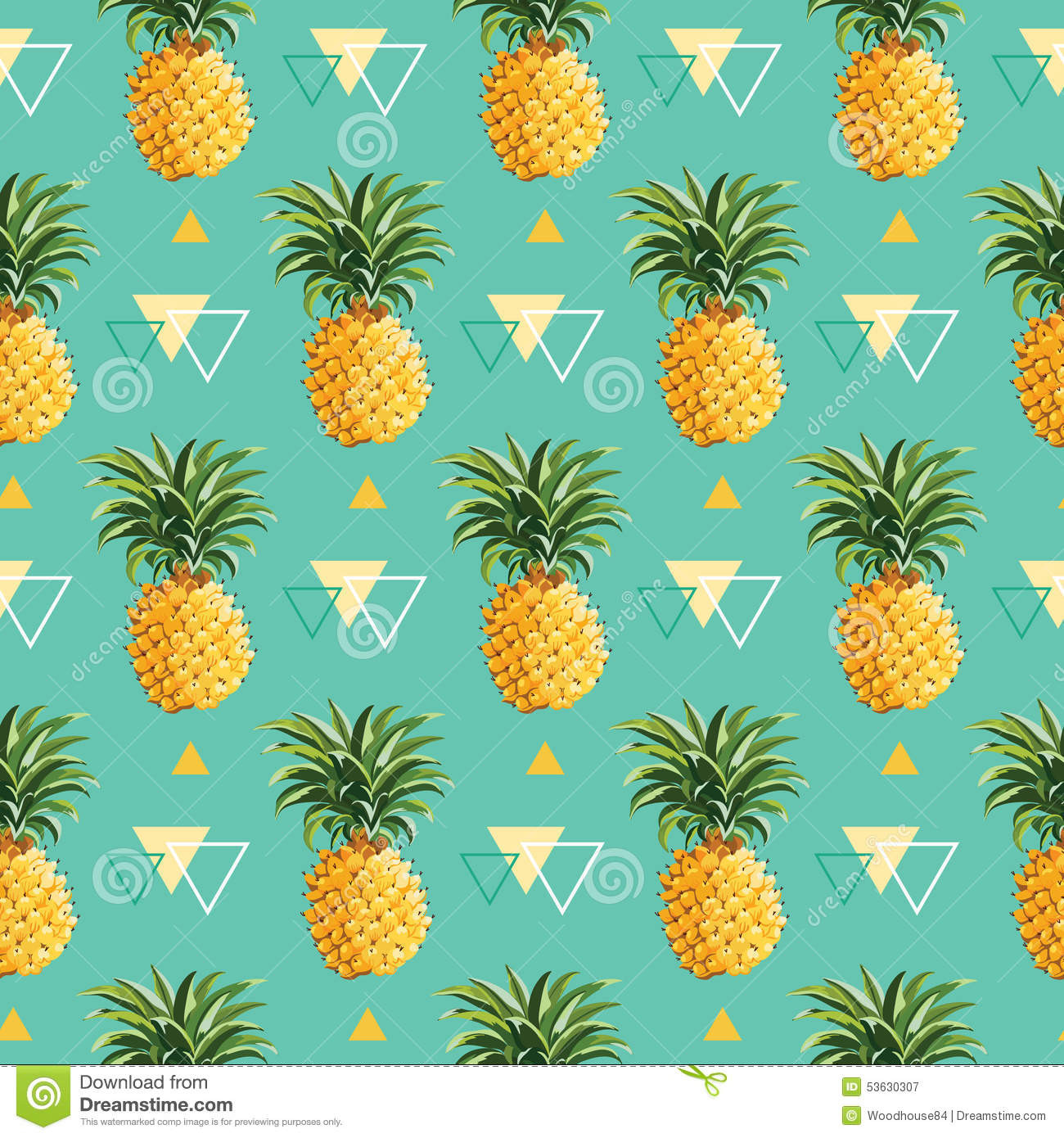 stock illustration geometric pineapple background seamless pattern vector image