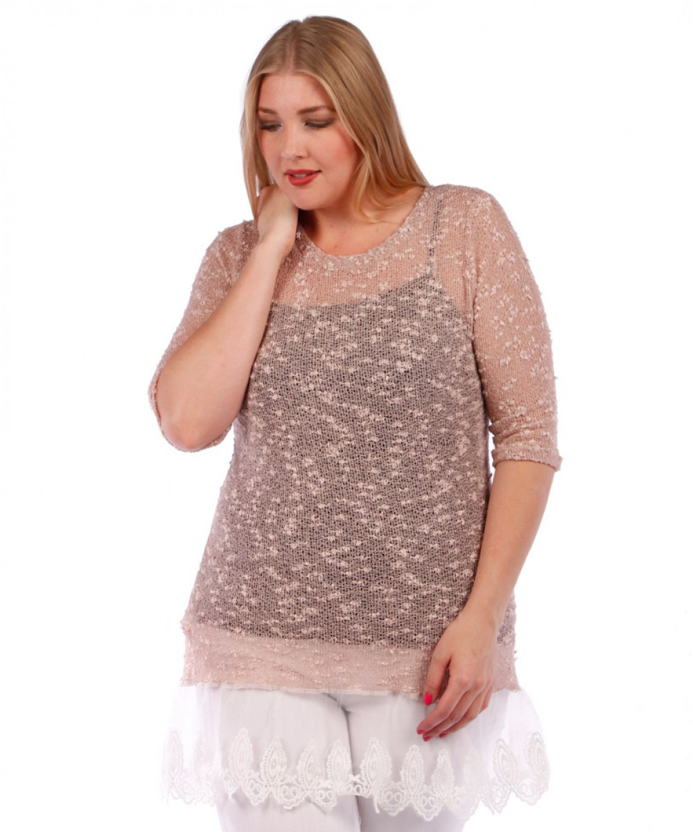 Plus Size Crochet Awesome Ypt 6817 Taupe Plus Size Crochet Style top with Sheer Lace Of Gorgeous 50 Pictures Plus Size Crochet