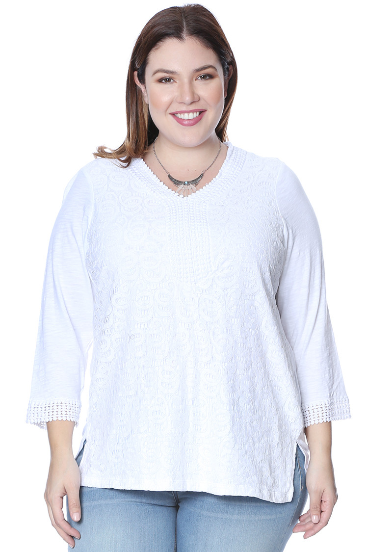 Plus Size Crochet Applique Thermal Tops