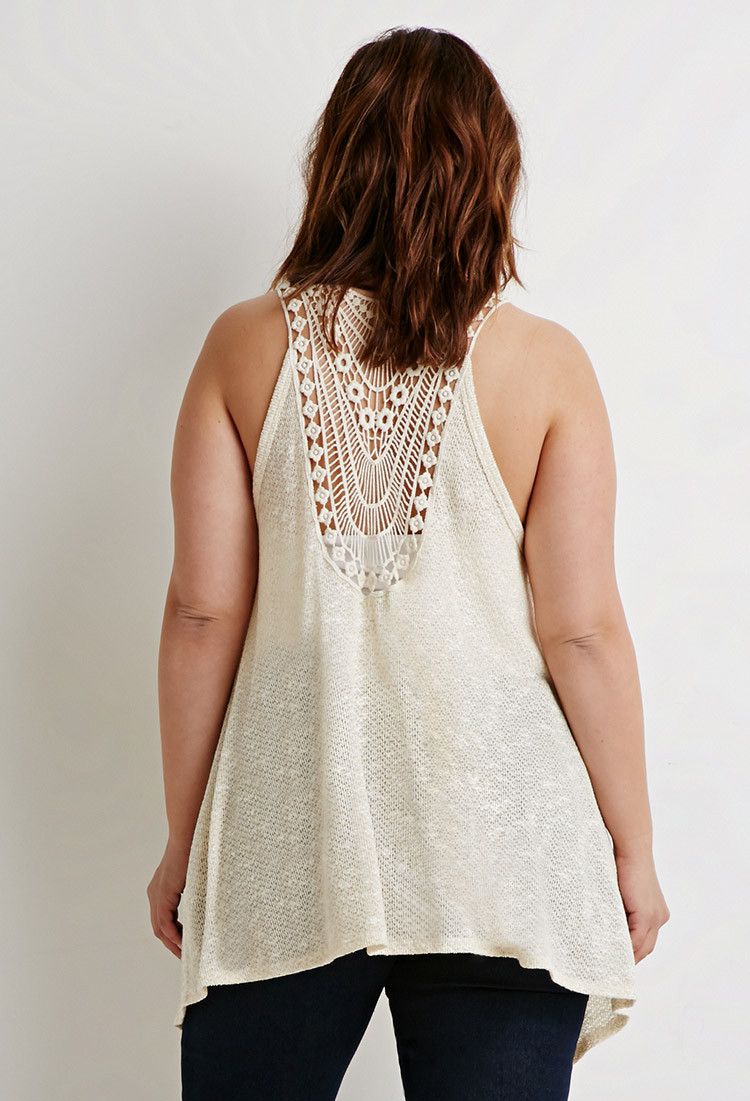 Plus Size Crochet Vest Best Of forever 21 Plus Size Crochet Paneled Vest In Natural Of Fresh 49 Pics Plus Size Crochet Vest