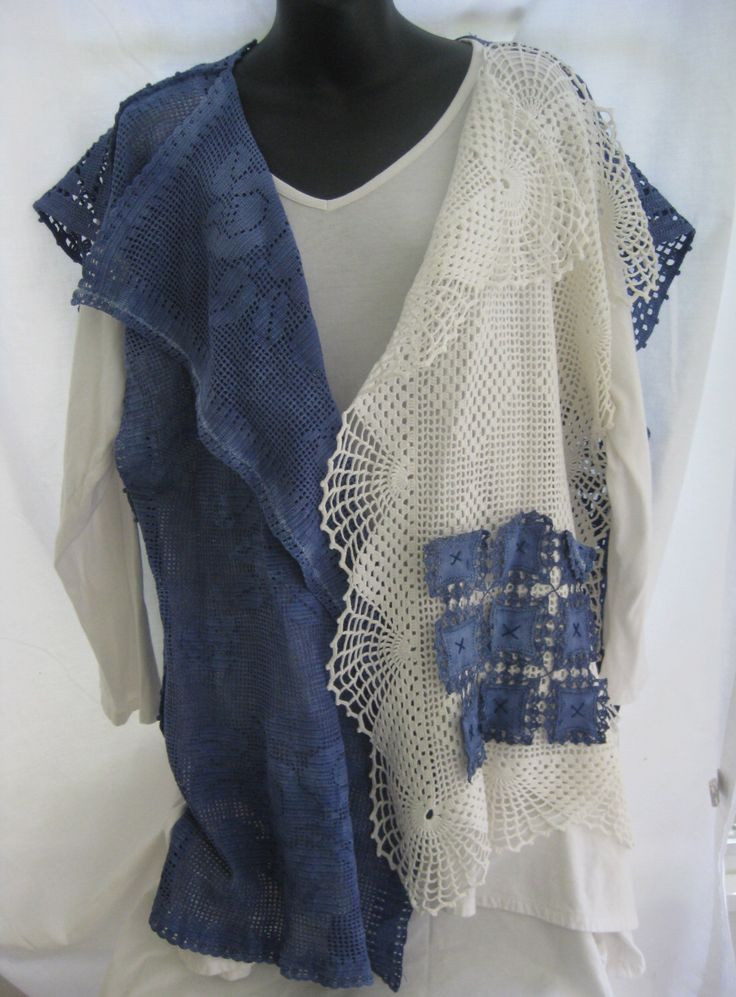 Plus size blue and white vintage crochet hand dyed