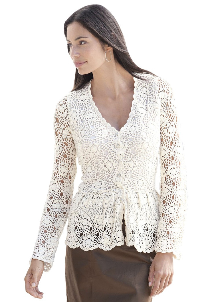 Plus Size Crocheted Sweater Cardigan With Buttons