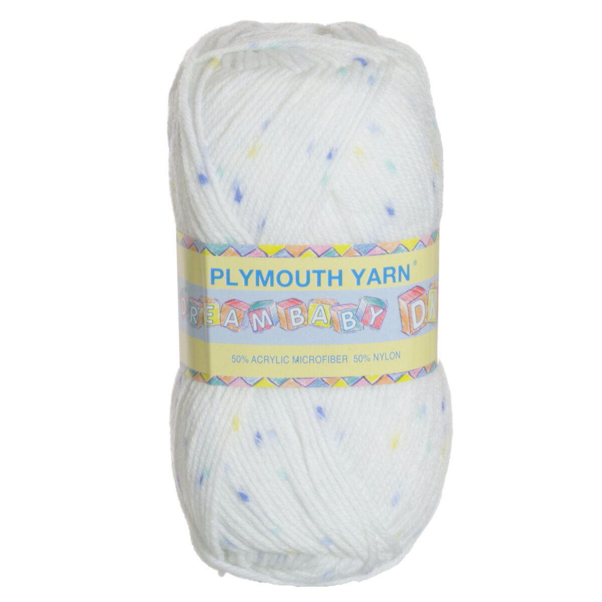 Plymouth Yarn Dreambaby DK Yarn 302 White With Boy Spots