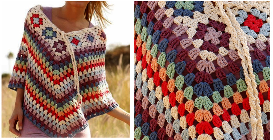 Crochet poncho with squares and lace pattern