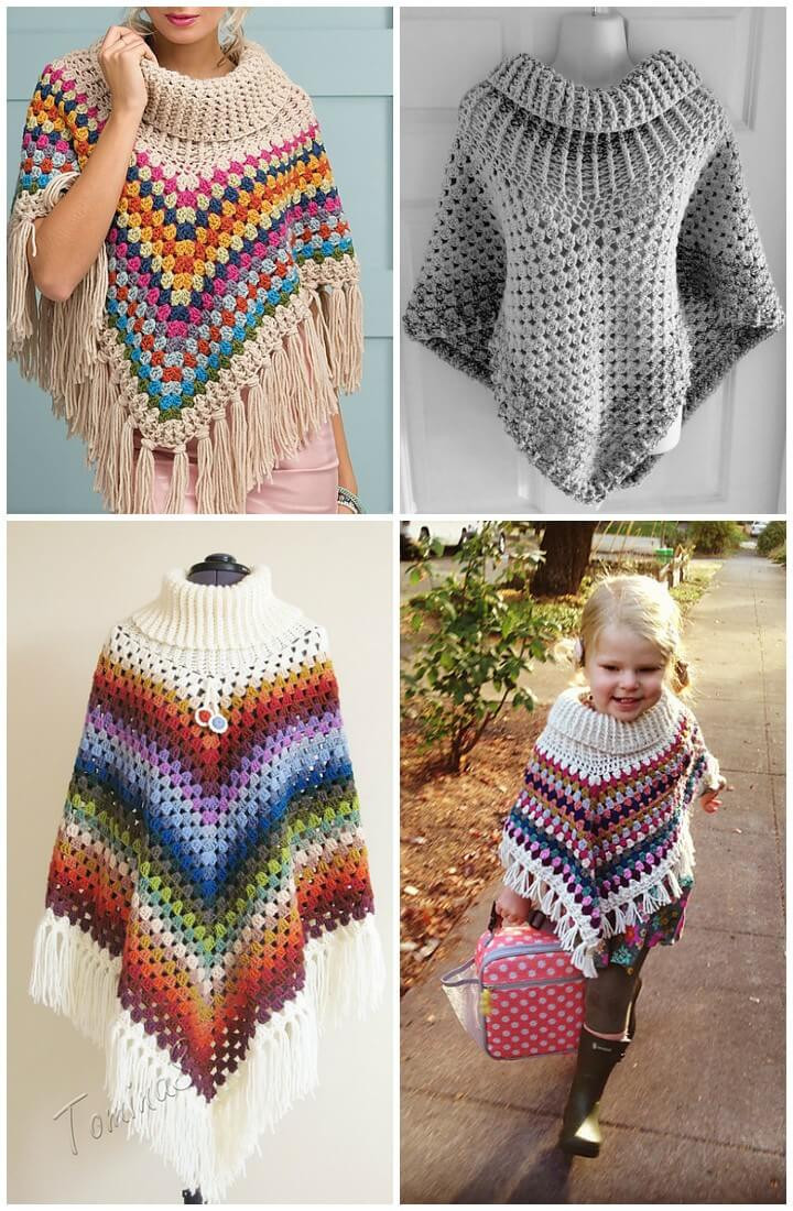 50 Free Crochet Poncho Patterns for All DIY & Crafts
