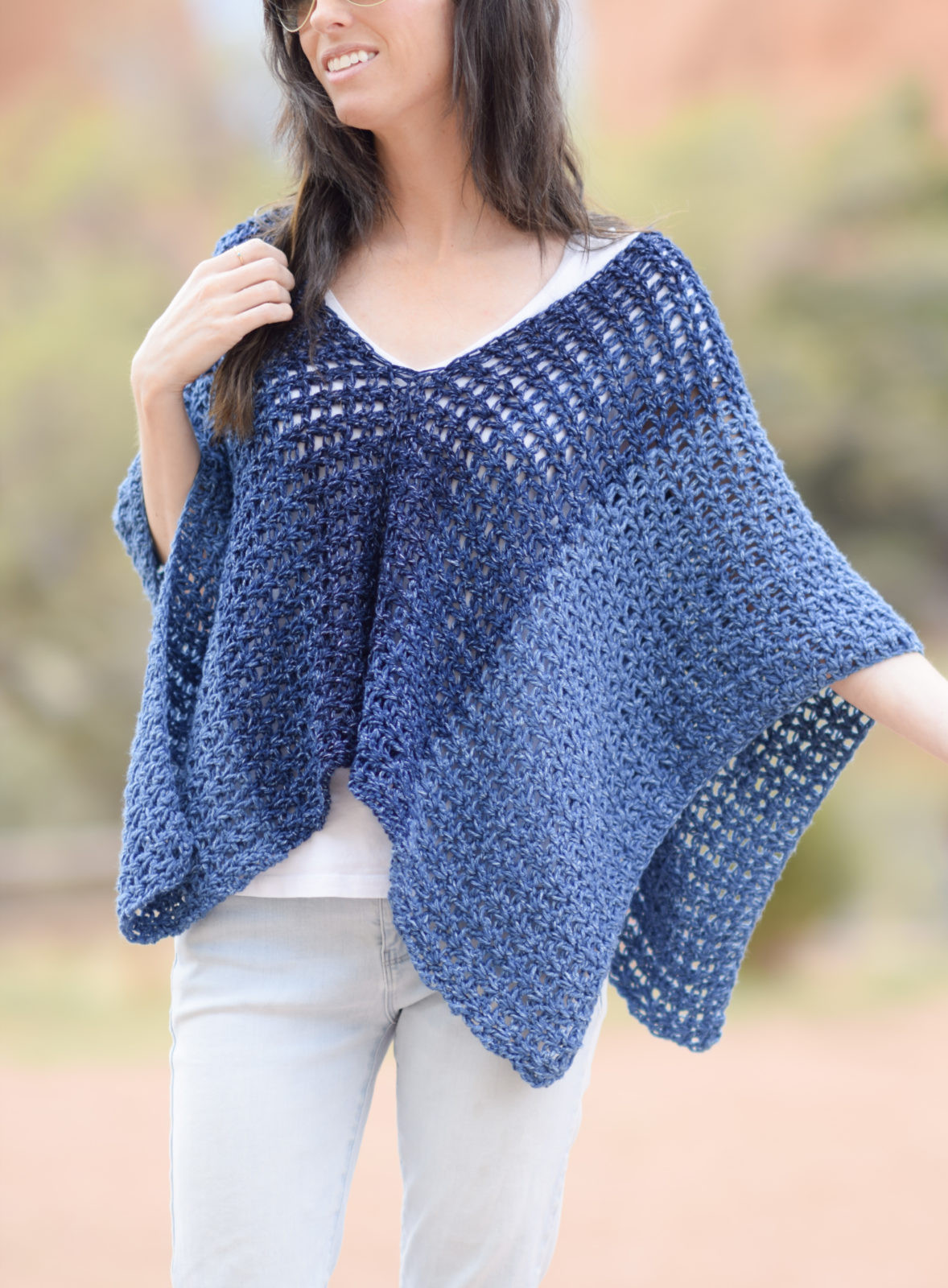 Azul V Mesh Easy Crochet Poncho Pattern – Mama In A Stitch