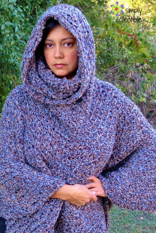cowl hooded poncho free crochet pattern
