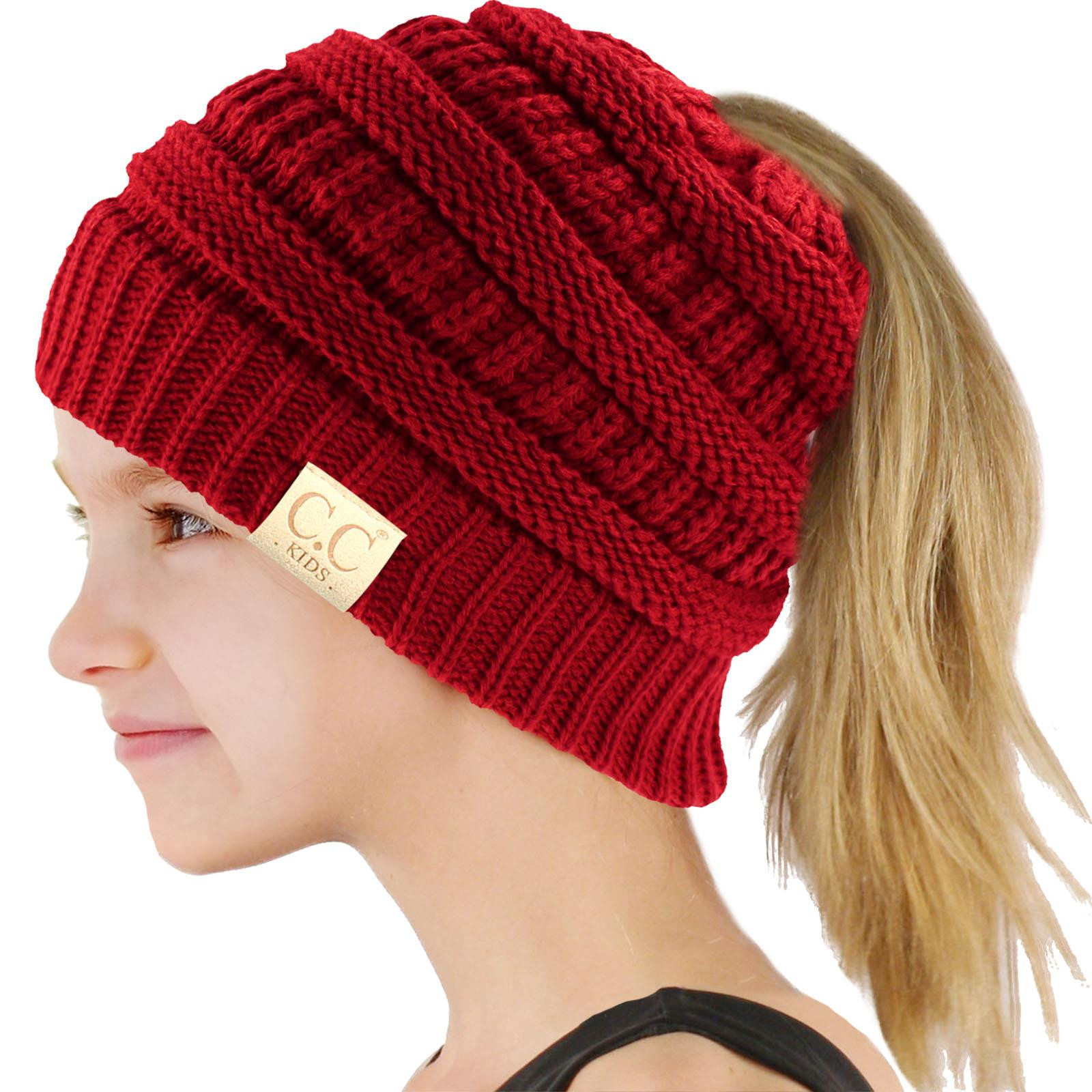 Ponytail Beanie Hat Awesome Cc Kids Girls Beanietail Messy Bun Ponytail Stretch Knit Of Amazing 48 Pictures Ponytail Beanie Hat