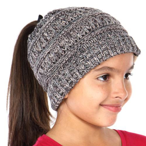 Kids BeanieTails Multi Color Hat with Open Ponytail